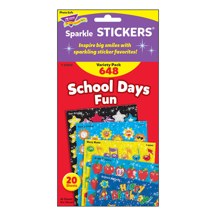 T63909 Sticker Variety Pack School Days Fun Package