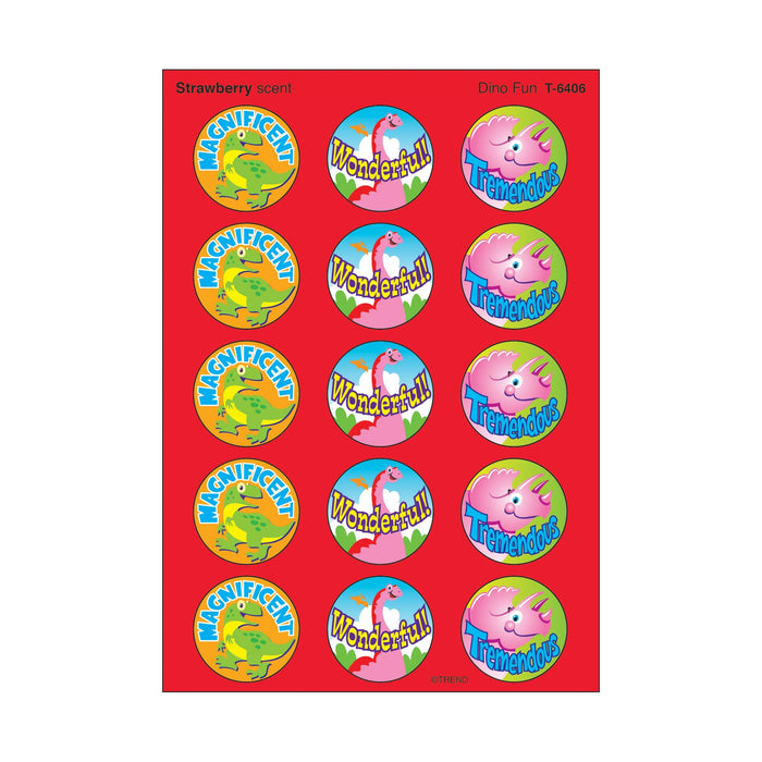 T6406 Stickers Scratch n Sniff Strawberry Dinosaur