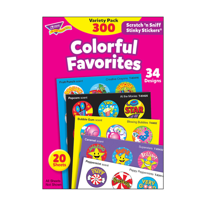 T6481 Sticker Scratch n Sniff Variety Pack Colorful Favorites