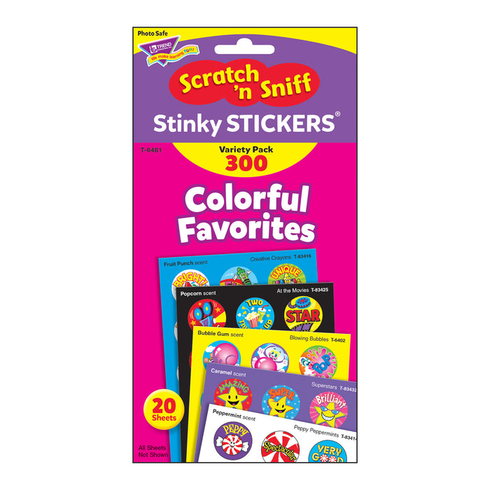 T6481 Sticker Scratch n Sniff Variety Pack Colorful Favorites Package