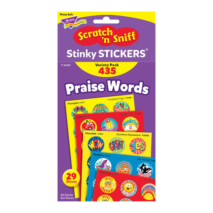 T6490 Sticker Scratch n Sniff Variety Pack Praise Words Package