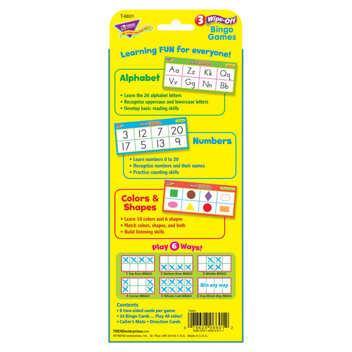 T6601 Wipe Off Bingo Game Alphabet Box Back