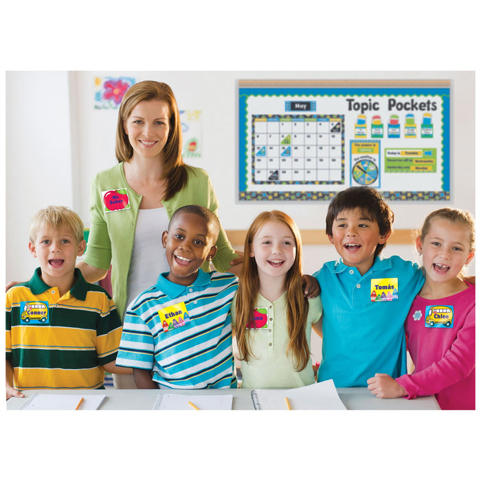 T68001 Name Tags School Bus Classroom