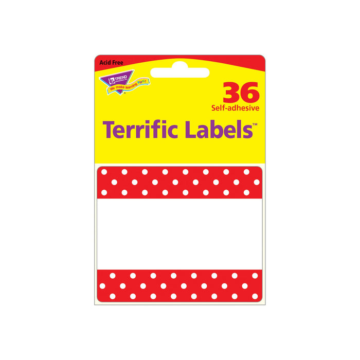 T68043 Name Tags Polka Dots Red Package