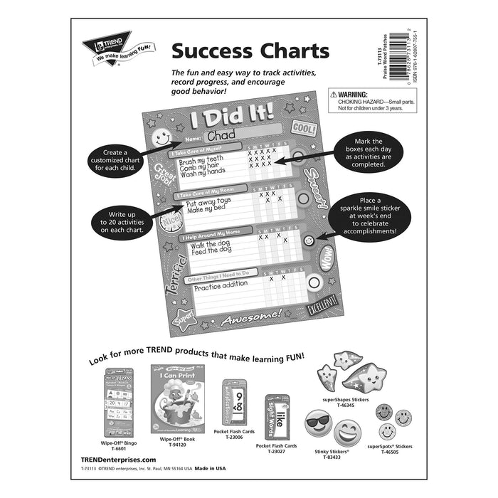 T73113 Incentive Chore Chart Praise Patches Package Back