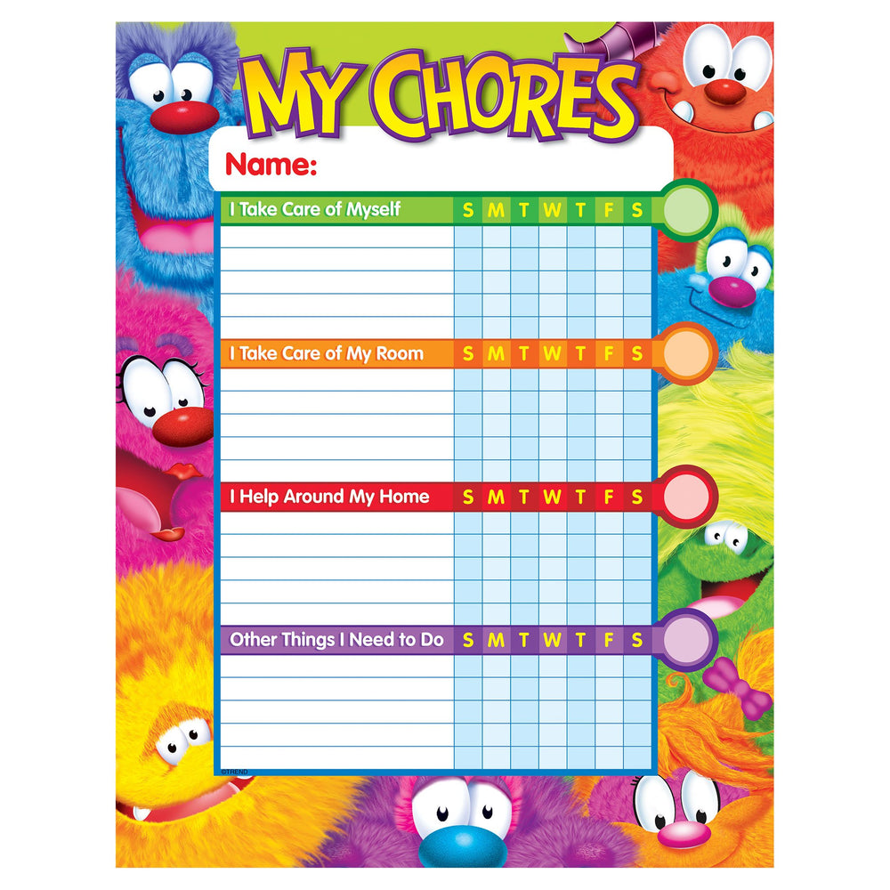 T73125 Incentive Chore Chart Furry Monster Friends