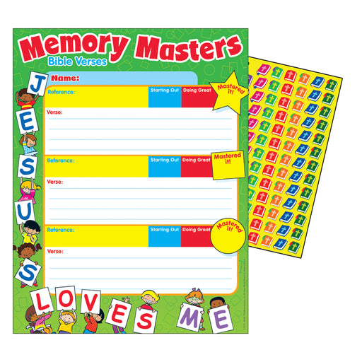 T73701 Jesus Loves Me Memory Masters Chore Charts with Stickers