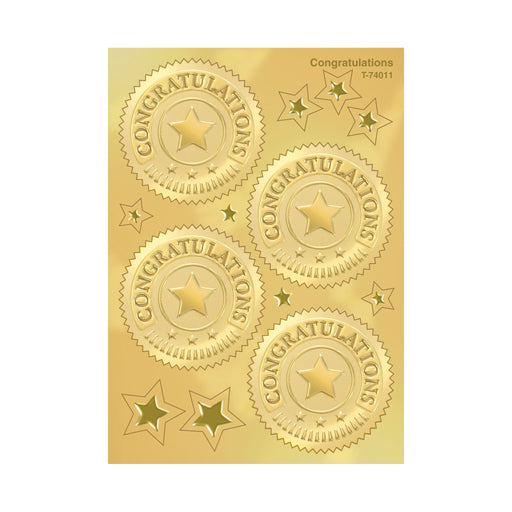 T74011 Stickers Award Seal Congratulations Gold