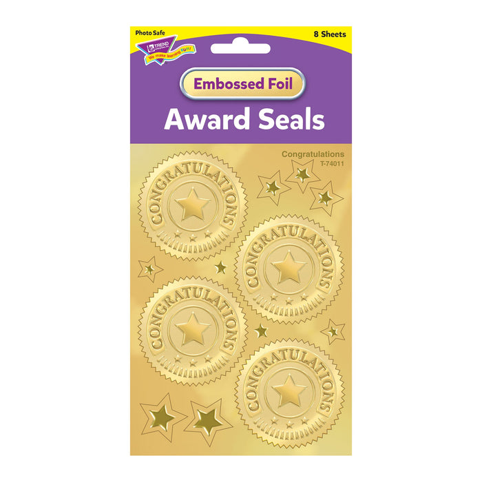 T74011 Stickers Award Seal Congratulations Gold Package