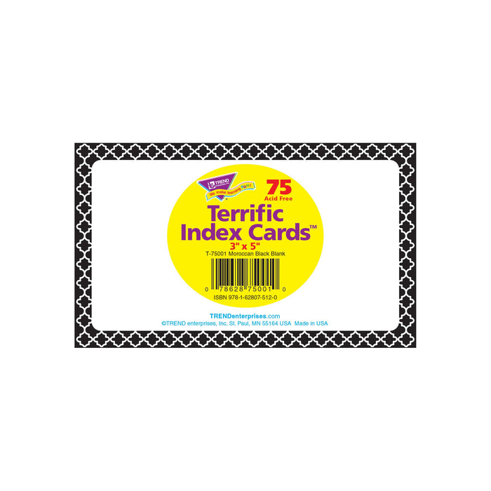 T75001 Index Cards Moroccan Black Package