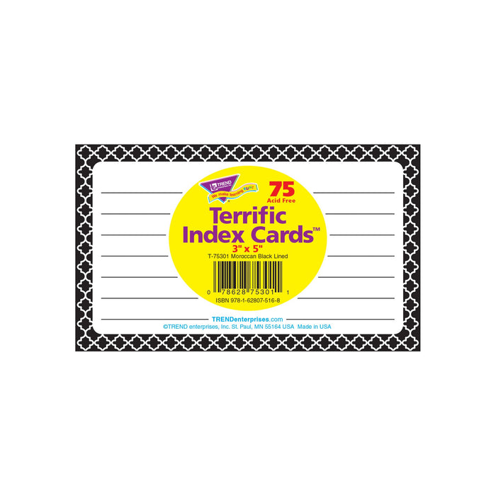 T75301 Index Cards Moroccan Black Package