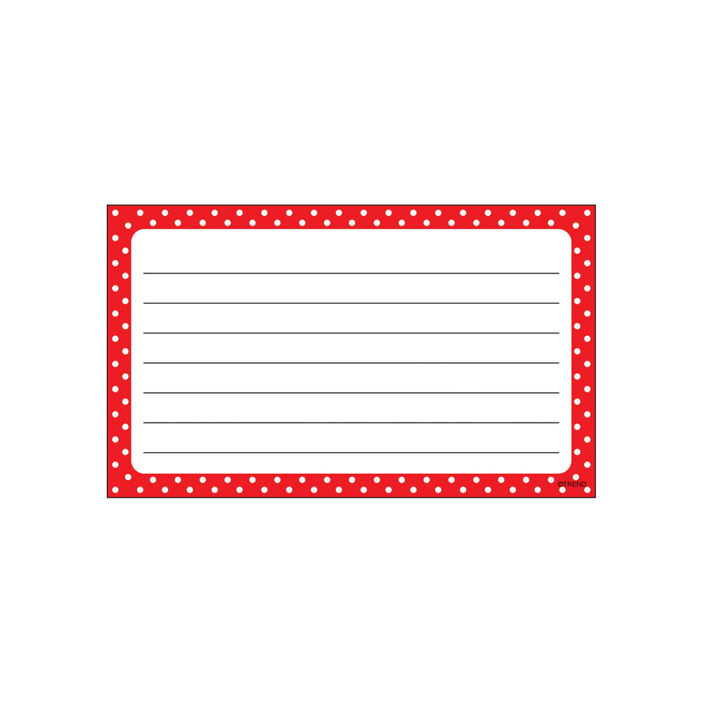 T75302 Index Cards Polka Dots Red