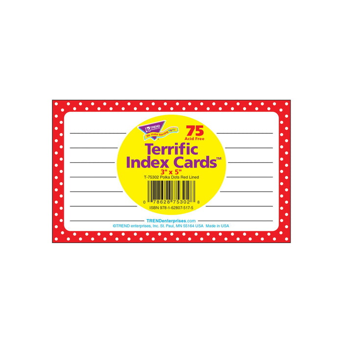 T75302 Index Cards Polka Dots Red Package