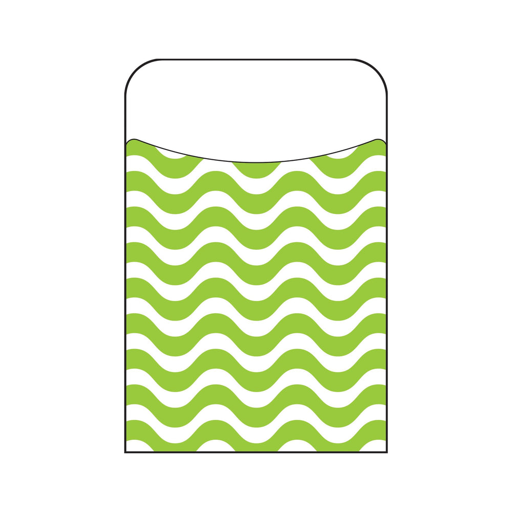 T77013 Library Pockets Wavy Lime