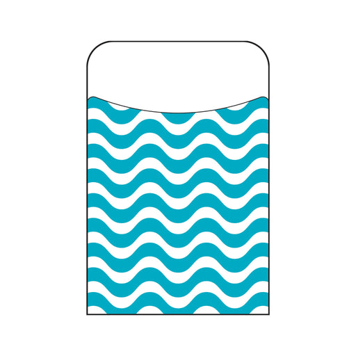 T77041 Library Pockets Wavy Teal