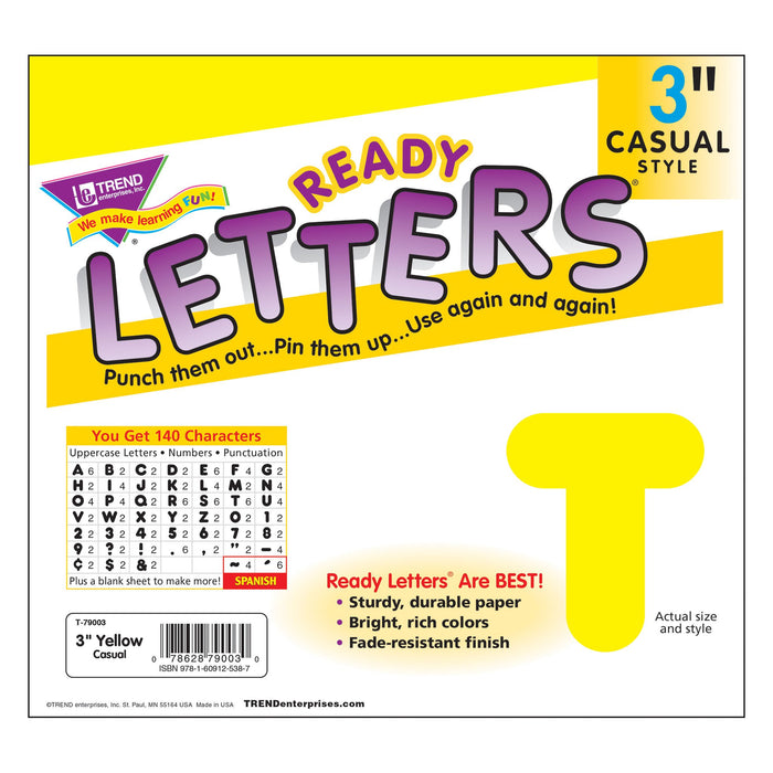 T79003 Letters 3 Inch Casual Yellow Package