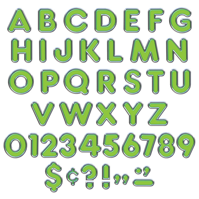 T79053 Letters 4 Inch Casual Green Chrome Alphabet