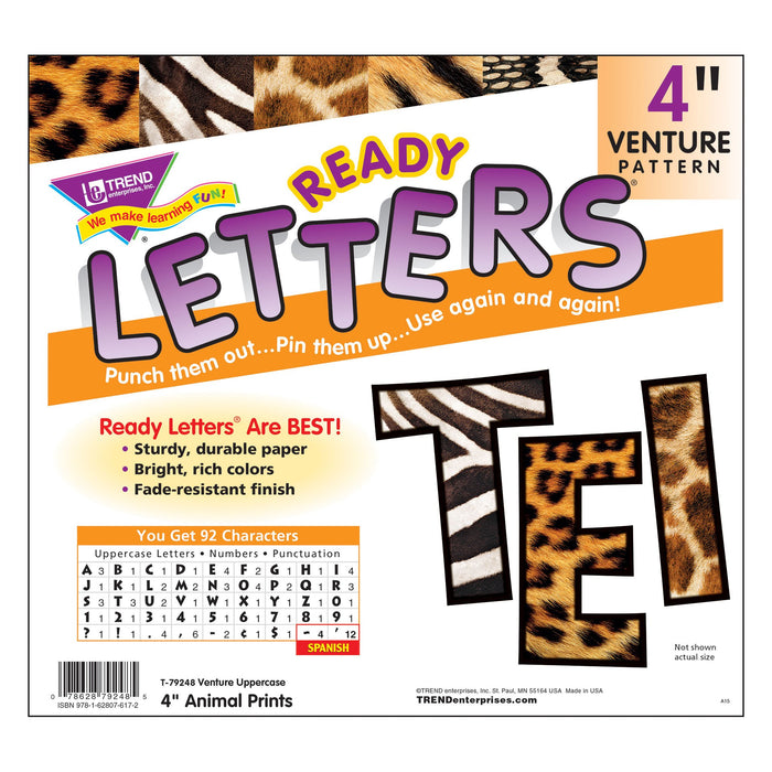 T79248 Letters 4 Inch Venture Animal Prints  Package