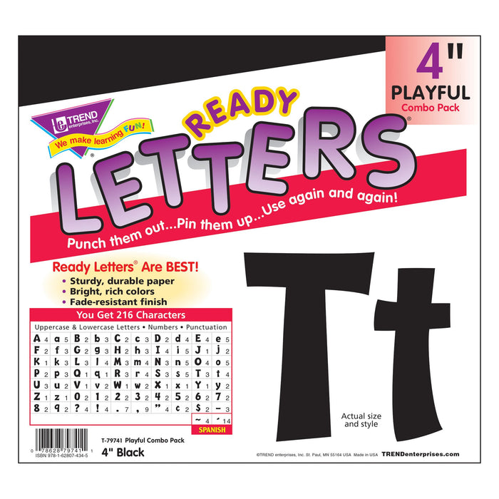 T79741 Letters 4 Inch Playful Black Package