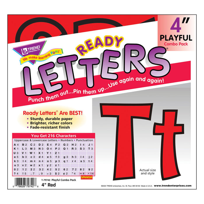 T79742 Letters 4 Inch Playful Red Package