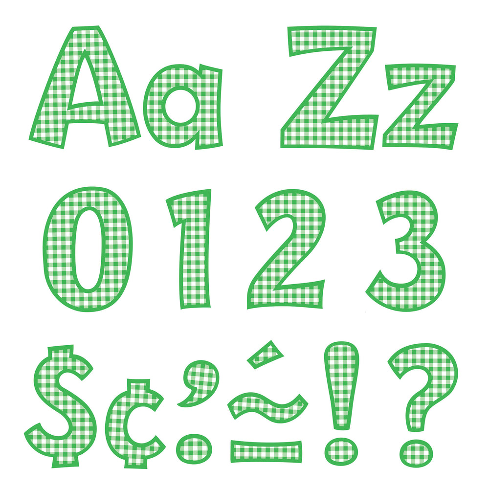 T79749 Letters 4 Inch Playful Green Gingham