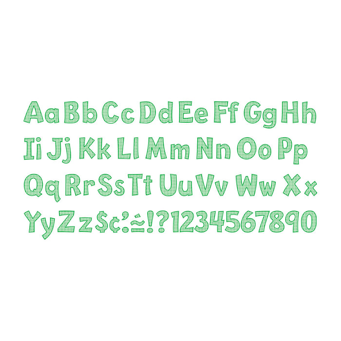 T79749 Letters 4 Inch Playful Green Gingham Alphabet