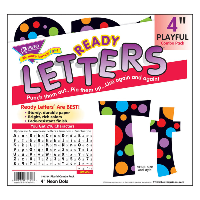 T79754 Letters 4 Inch Playful Neon Dot Package