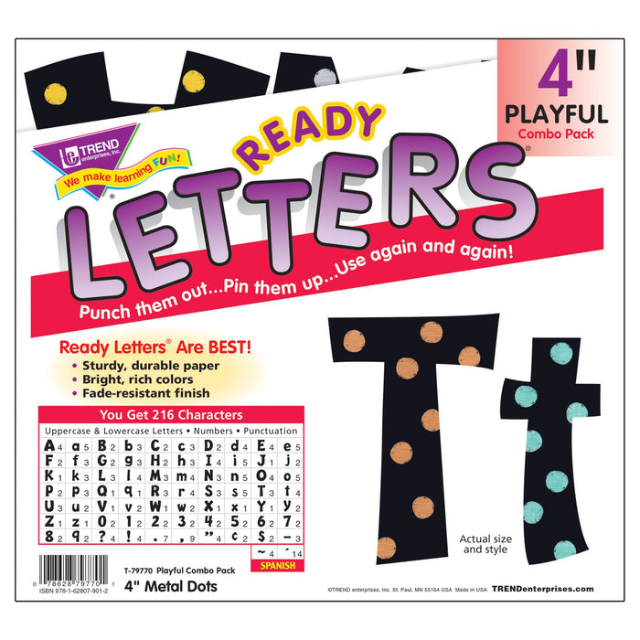 T79770 Letters 4 Inch Playful Metal Dots Package