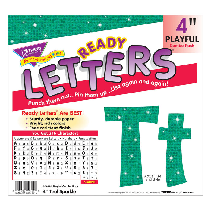 T79780 Letters 4 Inch Playful Teal Sparkle Package
