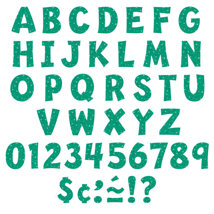 T79780 Letters 4 Inch Playful Teal Sparkle Alphabet
