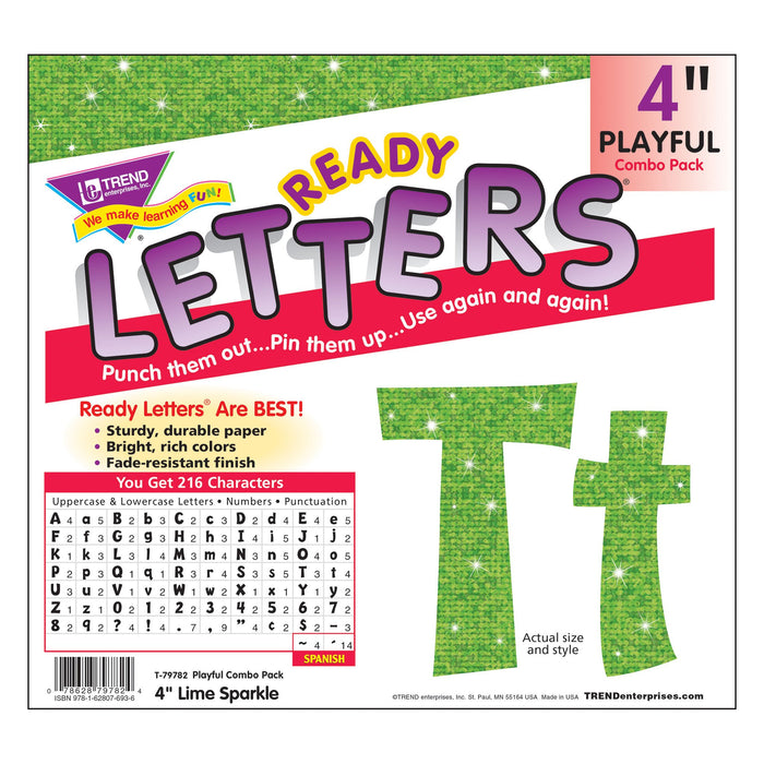 T79782 Letters 4 Inch Playful Lime Sparkle Package