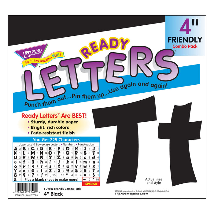 T79802 Letters 4 Inch Friendly Black Package
