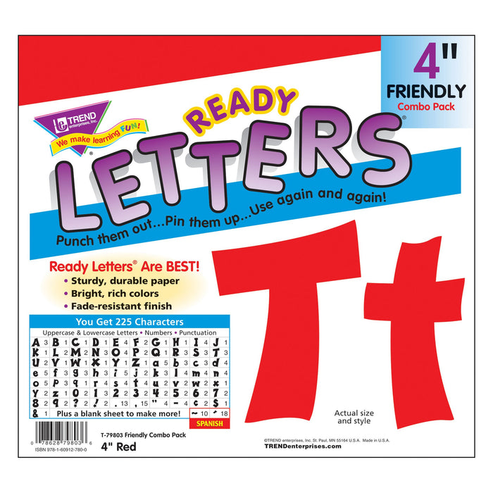T79803 Letters 4 Inch Friendly Red Package