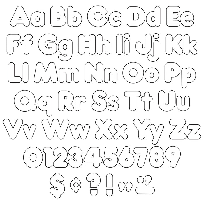T79905 Letters 4 Inch Casual Combo White Alphabet