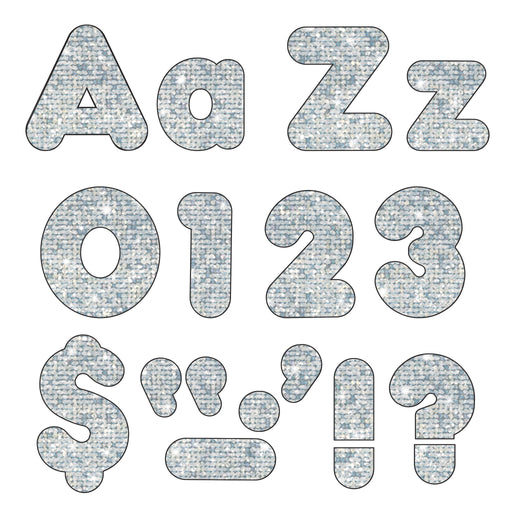 T79943 Letters 4 Inch Casual Combo Silver Sparkle