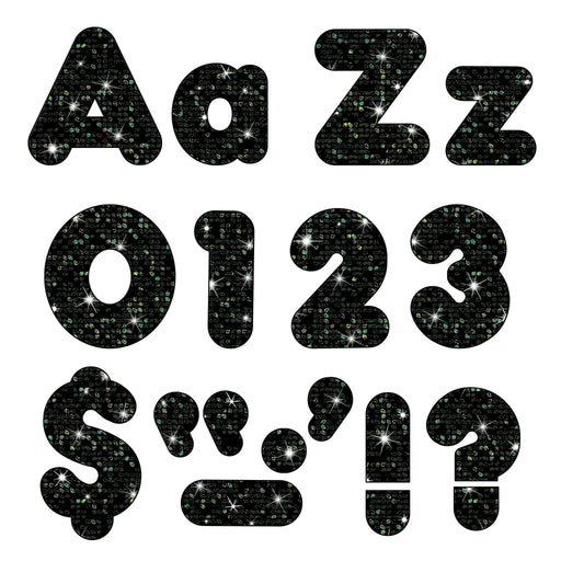 T79944 Letters 4 Inch Casual Combo Black Sparkle