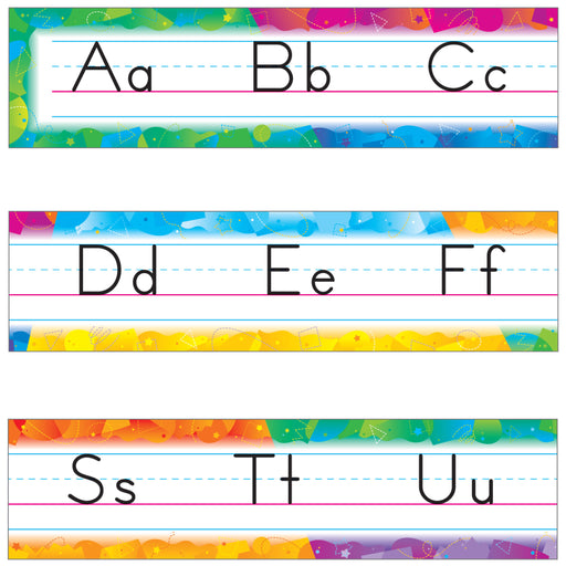 T8090 Bulletin Board Color Splash Manuscript Alphabet Line