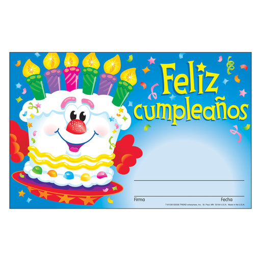 T81036 Award Happy Birthday Spanish Feliz cumpleanos