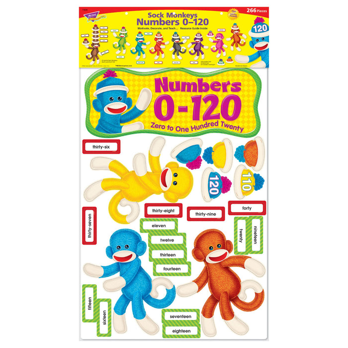 T8298 Bulletin Board Sock Monkey Numbers 0 120 Package