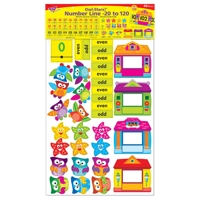T8299 Bulletin Board Owl Stars Number Line 0 120 Package