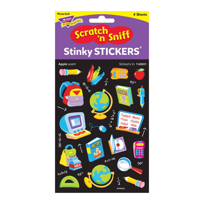 T83021 Stickers Scratch n Sniff Apple School Tools Package