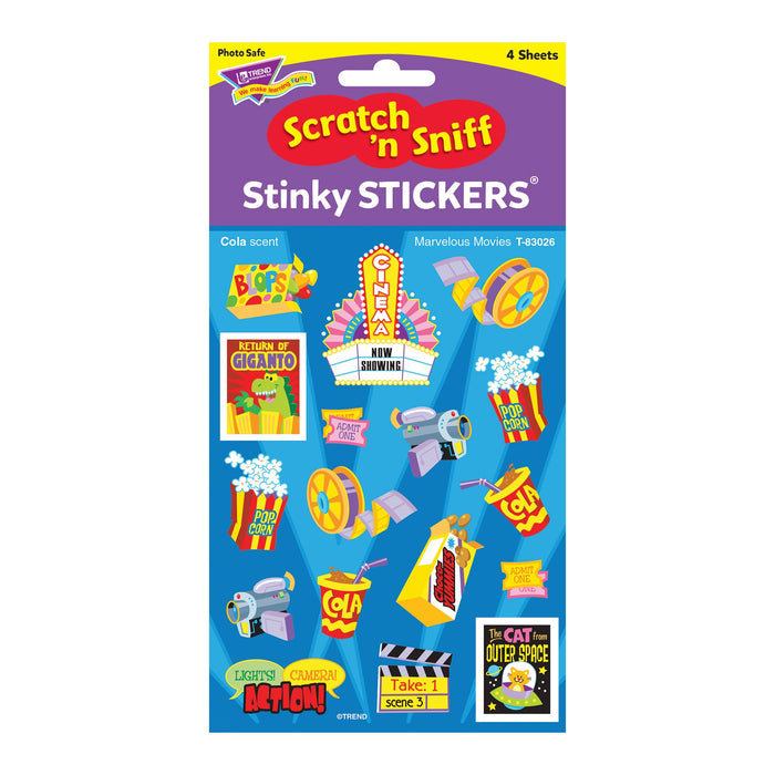 T83026 Stickers Scratch n Sniff Cola Marvelous Movies Package