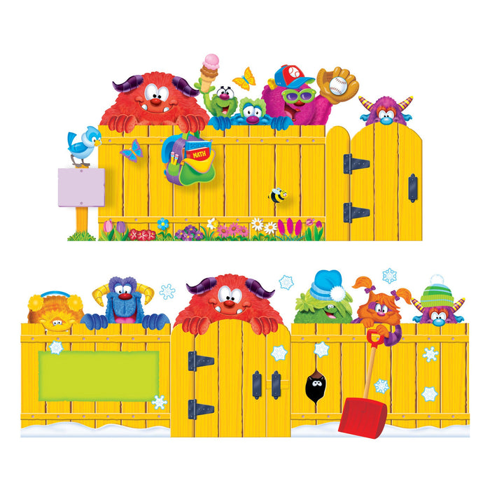 T8314 Bulletin Board Furry Monster Friends Season Fence