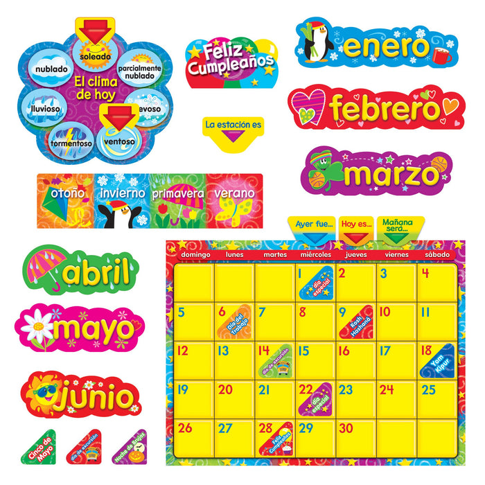 T8321 Bulletin Board Stars Swirls Calendar Spanish