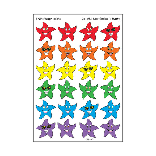 T83216 Stickers Scratch n Sniff Fruit Punch Colorful Star Smile