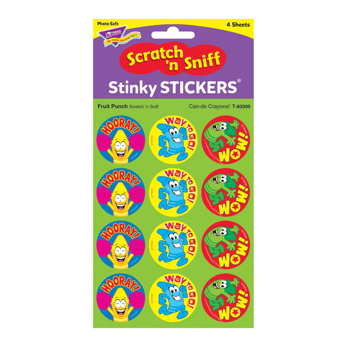 T83300 Stickers Scratch n Sniff Fruit Punch Crayons Package