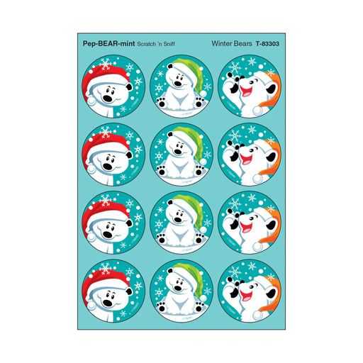 T83303 Stickers Scratch n Sniff Peppermint Winter Bears