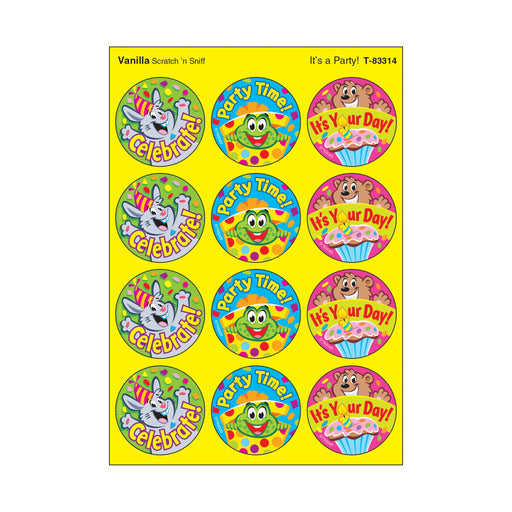T83314 Stickers Scratch n Sniff Vanilla Birthday Party