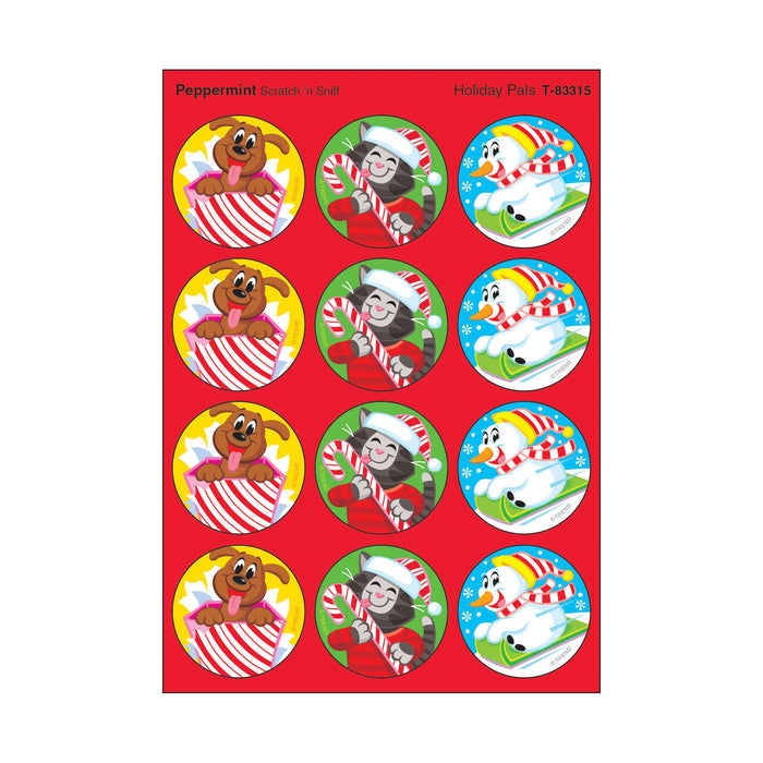 T83315 Stickers Scratch n Sniff Peppermint Winter Holiday Pals