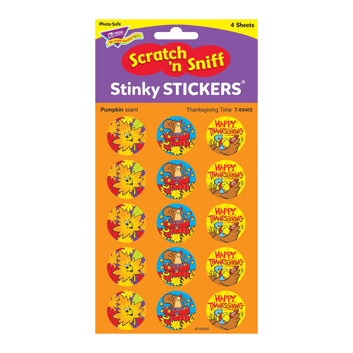 T83403 Stickers Scratch n Sniff Pumpkin Thanksgiving Package